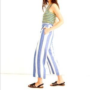 NWT Madewell Huston Pull On Pant Linen Navy Stripe